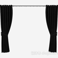 黑色简单家居窗帘3d模型下载