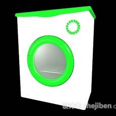绿色洗衣机3d模型下载