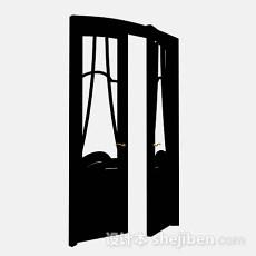黑色家居门3d模型下载