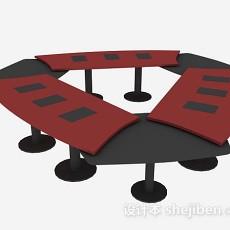 红色会议桌3d模型下载