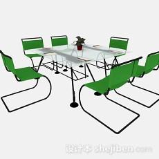 绿色简约会议桌椅3d模型下载