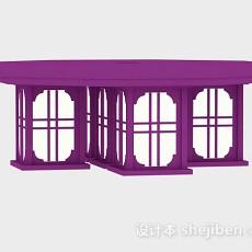 紫色吸顶灯3d模型下载