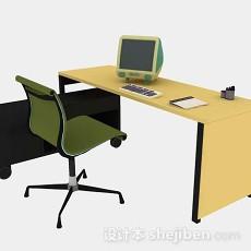 简单办公桌椅组合3d模型下载