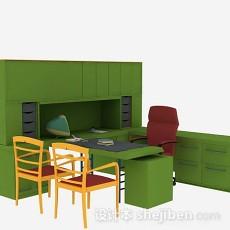 绿色办公桌椅组合3d模型下载