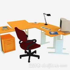 黄色办公桌椅组合3d模型下载