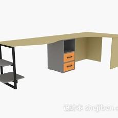 简约木质办公桌3d模型下载