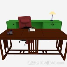 新中式书桌3d模型下载