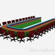会议桌椅组合3d模型下载