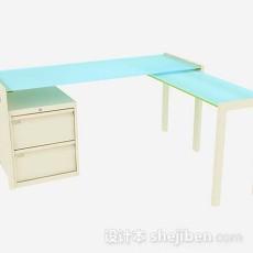 蓝色办公桌3d模型下载