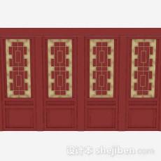 中式红色木质门3d模型下载