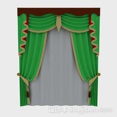 绿色窗帘3d模型下载