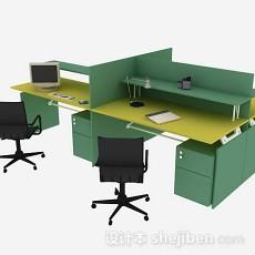 绿色办公桌椅3d模型下载