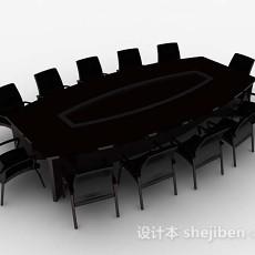 深棕色木质会议桌椅3d模型下载