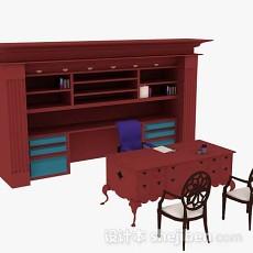红色办公桌椅组合3d模型下载