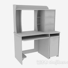 灰色木质办公桌3d模型下载
