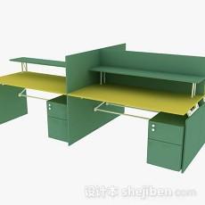 绿色办公桌3d模型下载
