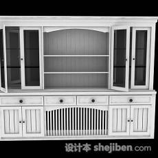 白色家居书柜3d模型下载