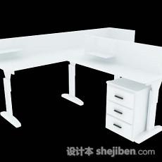 白色办公桌3d模型下载