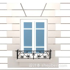 蓝白色窗户3d模型下载