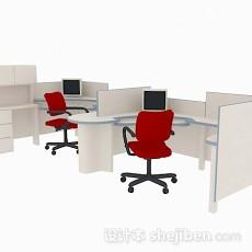 木质办公桌椅组合3d模型下载
