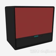 红色电视机3d模型下载
