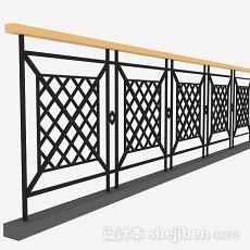 黑色简约栏杆3d模型下载