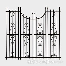 铁艺黑色栏杆3d模型下载
