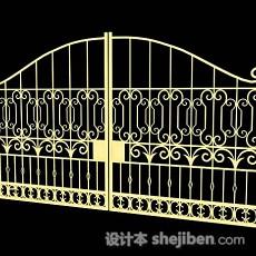欧式铁艺黄色大门3d模型下载