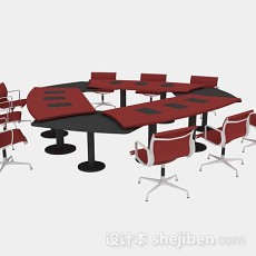 红色会议桌椅组合3d模型下载