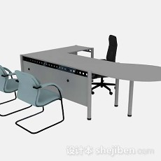 灰色办公桌椅组合3d模型下载