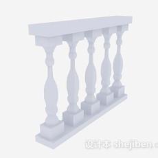 欧式白色栏杆3d模型下载