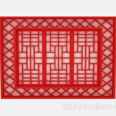 中式红色隔断3d模型下载