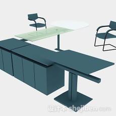 蓝色办公桌椅3d模型下载