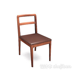 木质棕色简单家居椅3d模型下载