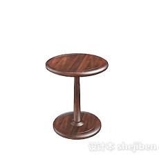 木质简单棕色圆凳子3d模型下载