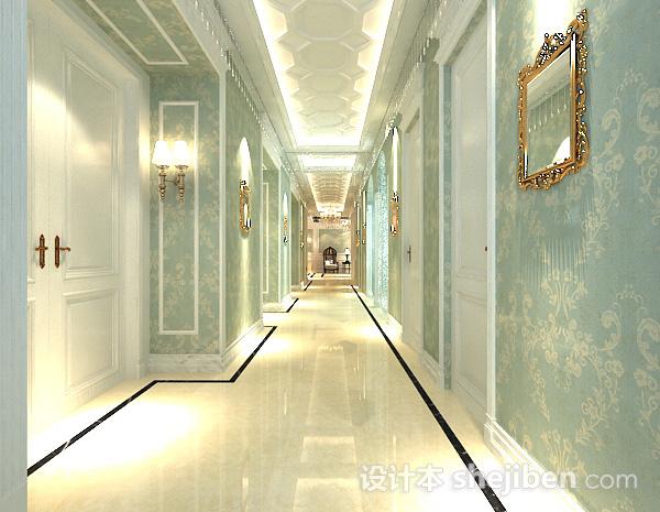 欧式酒店走廊3d模型