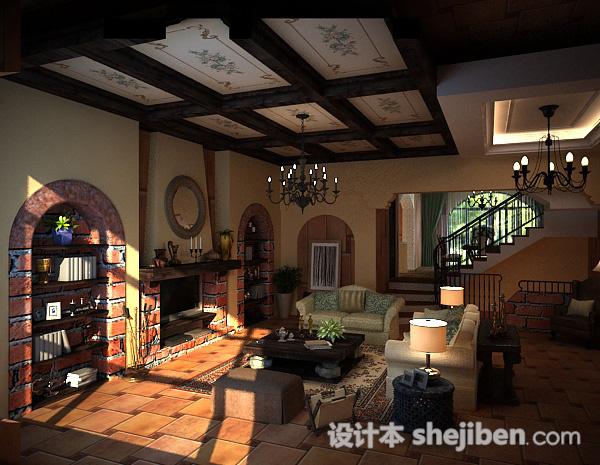 田园风格3d客厅模型