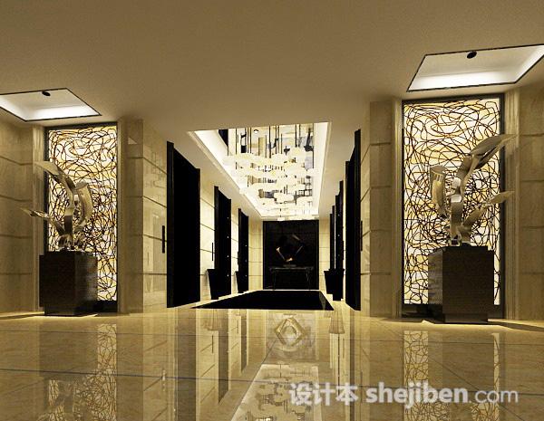 酒店电梯走廊3d模型