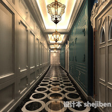 欧式酒店走廊3d模型下载