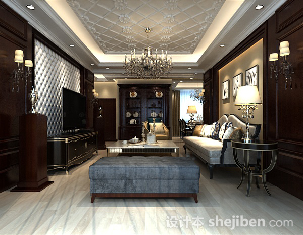 中式复古客厅3d模型