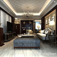 中式复古客厅3d模型下载