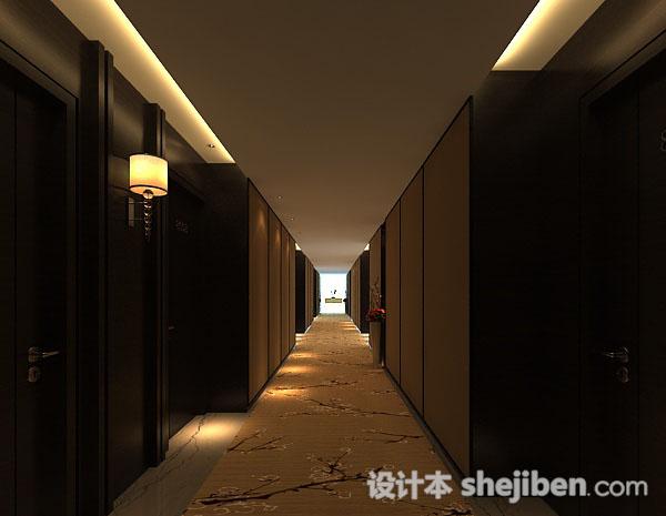 中式酒店走廊3d模型