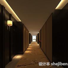 中式酒店走廊3d模型下载