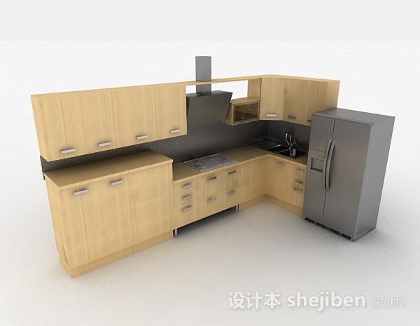 现代米黄色时尚L型整体橱柜