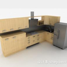 现代米黄色时尚L型整体橱柜3d模型下载