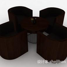 棕色木质桌椅组合3d模型下载