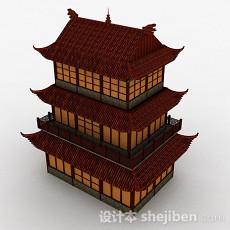 中式三层古代阁楼建筑效果图3d模型下载