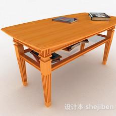黄色木质书桌3d模型下载