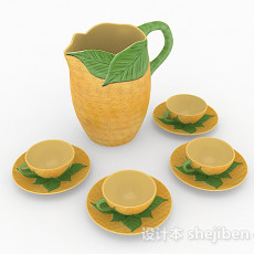 东南亚风陶瓷茶具3d模型下载
