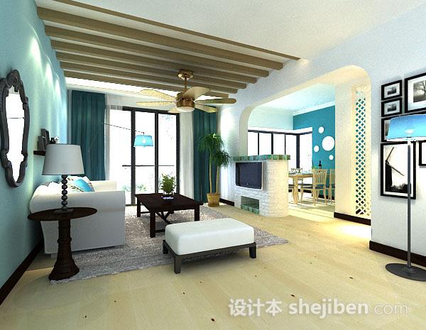 地中海简约客厅3d模型下载